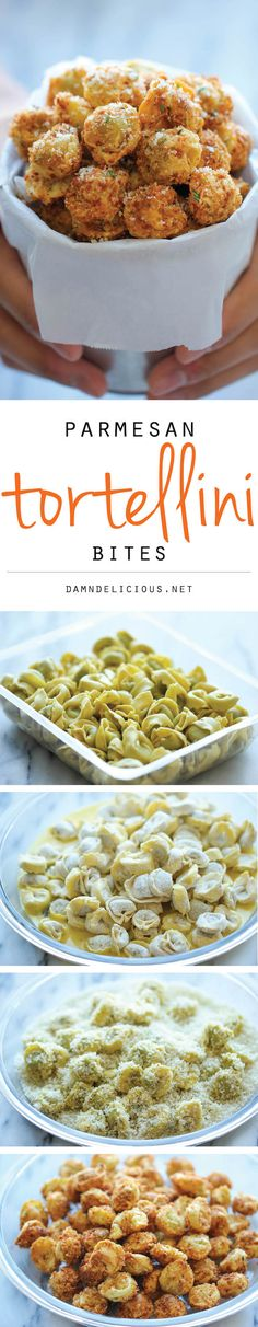 Parmesan Tortellini Bites - Crisp crunchy parmesan-loaded tortellini bites - so good you won't be able to stop eating these!