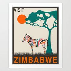 Visit Zimbabwe Art Print by Jazzberry Blue - $19.00