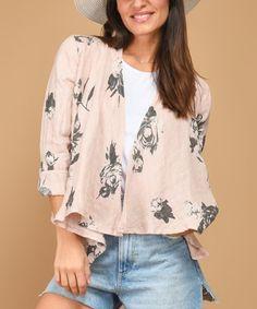 Look at this #zulilyfind! Pink Floral Drape-Front Linen Jacket - Women #zulilyfinds