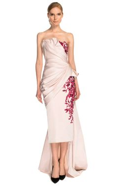 Strapless Duchess Satin Embroidered Cocktail Dress by Marchesa for Preorder on Moda Operandi