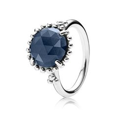 The elegant cocktail ring with the rose-cut midnight blue stone is great for stacking - surround it with classic silver rings or sparkly bands to create your personal expression. $85 #PANDORA #PANDORAring | www.goldcasters.com