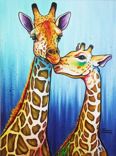 Giraffe art by Steven Schuman Giraffe Drawing, Giraffe Painting, Giraffe Art, Animal Paintings, Animal Drawings, Art Drawings, Giraffe Pictures, Afrique Art, Painting & Drawing