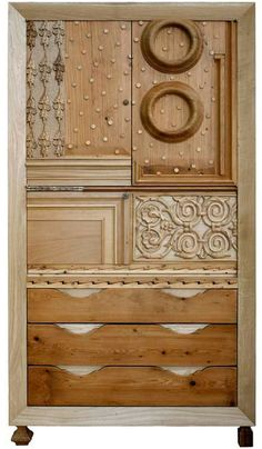 An Armoire made of different scrap wood