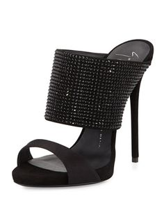 High-Heel Crystal Slide Sandal, Nero by Giuseppe Zanotti at Neiman Marcus.
