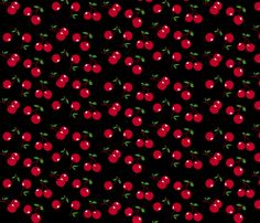 Cherries red x black fabric by mezzo on Spoonflower - custom fabric