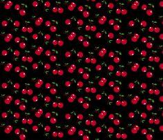 Cherries red x black fabric by mezzo on Spoonflower - custom fabric