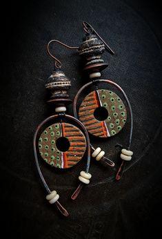 Lynn Ferro earrings using my Spirit Hole clay beads - super!