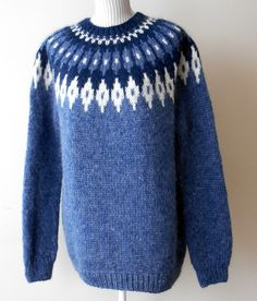 Rich Blue and White Icelandic Sweater Icelandic Sweaters, Cable Knit Sweaters, White Sweaters, Hooded Sweater, Men Sweater, Fair Isle Pullover, Sweater Knitting Patterns, Unisex, Blue And White