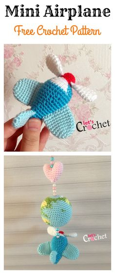 Crochet Toys Mini Amigurumi Airplane Free Crochet Pattern - This is such a cute Amigurumi crochet airplane. The Amigurumi Airplane Free Crochet Pattern is worked up quickly with single crochet stitches. Crochet Diy, Crochet Gifts, Crochet For Kids, Crochet Cowls, Mobiles En Crochet, Crochet Mobile, Crochet Toys Patterns, Amigurumi Patterns, Baby Knitting Patterns