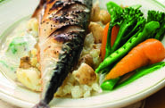 This tasty grilled mackerel is ideal served for supper with crushed new potatoes and cooked vegetables. Chicken And Chickpea Curry, Recipe Finder, Recipe Search, Healthy Eating Recipes, Main Meals, Cooking Time, Mustard, Grilling