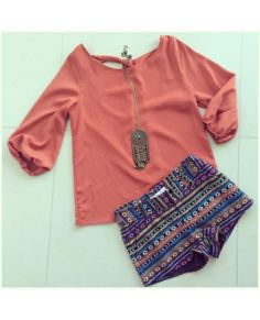 Ethnic shorts + Rust Top Outfit