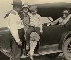 U.S. Dad, Mom, their son and Grandmother out for a ride, 1920s