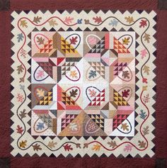 """Gathering Baskets  Oak leaves and Baskets pieced with good contrasting fabrics make the center  of this quilt interesting visually with a number of effects. The lovely  trailing vine of oak leaves surrounding the gather basket blocks are set  with nice pieced borders using flying geese units. If you have a stash of  reproduction fabrics they would particularly suit this quilt. Enjoy  piecing and appliquing this Gathering Baskets quilts!  Size of Quilt - 90"""" x 90""""  Rotary cutting and…"""