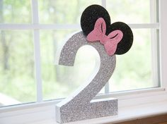 "Minnie Mouse-inspired Glitter ""2"" from a Glamorous Minnie Mouse Birthday Party via Kara's Party Ideas KarasPartyIdeas.com (10)"