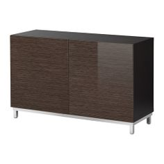 """for TV -- BESTÅ Storage combination, black-brown bamboo pattern, high-gloss/brown, $179 (was 219 last year).  [47.25"""" W x 15.75"""" D x 29"""" H]"""