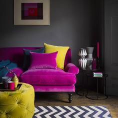 New living room decor purple grey velvet sofa ideas Living Room Decor Purple, Colourful Living Room, Living Room Grey, Living Room Sofa, Living Room Interior, Home Living Room, Living Room Furniture, Living Room Designs, Cozy Living
