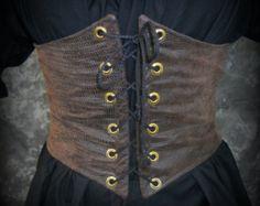 Renaissance Waist Cincher - Pirate Waist Belt - Corset - Size MEDIUM - Dark Brown Faux Leather - Steampunk, SCA, LARP Costume