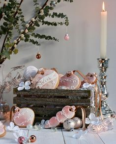 Blush pink for Christmas! Sweet sugary baked ornaments styled with vintage elements and metallic accents