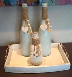 Wine Bottle Crafts – Make the Best Use of Your Wine Bottles – Drinks Paradise Glass Bottle Crafts, Wine Bottle Art, Painted Wine Bottles, Diy Bottle, Bottles And Jars, Paint Bottles, Home Crafts, Diy Crafts, Creation Deco