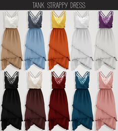 Tank Strappy Dress by Elliesimple for The Sims 4 The Sims 4 Pc, Sims 4 Cas, Sims Cc, Sims 4 Game Mods, Sims Mods, Sims 4 Dresses, Sims 4 Outfits, Sims4 Clothes, Sims 4 Cc Packs
