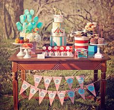Circus Carnival Birthday Party Package - cake. ticket tiered stand, red stripe containers, cotton candy
