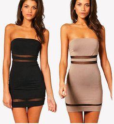 Fashion Womens Summer Slim Strapless Short Tight Mini Dress Party Club dress