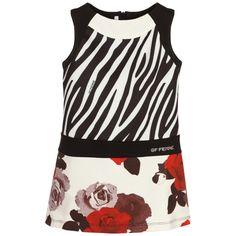 GF Ferre - Girls Zebra Stripe & Floral Print Dress | Childrensalon