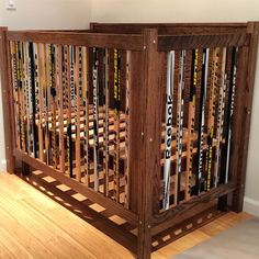 A crib i built out of hockey sticks and oak...