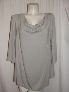 H by Halston Women's Top Nutmeg Drape Neckline Pleated Back Tunic Blouse Sz 18W #HbyHalston #Blouse #CareerCasual