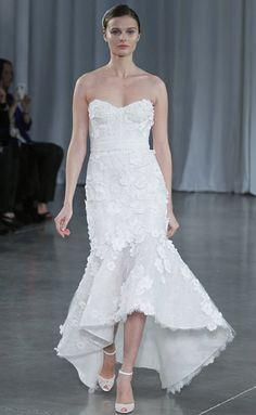 Monique Lhuillier: Floral embroidered strapless hi-low dress