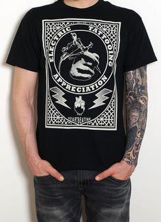 Men's Black T-shirt  Electric Tattooing Tattoo by HeartbeatInk