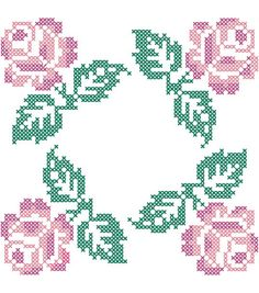 "Stamped Quilt Cotton Block Fabric-18"" X 18"" Roses in 4 Corners Design"