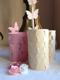 porta candele con farfalle