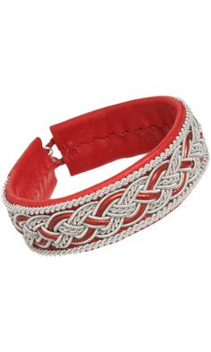 Maria Rudman Large Leather & Pewter Embroidered Bracelet