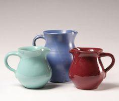 Primitive pottery pitchers by Bybee Pottery, Berea, KY.
