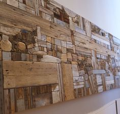 Driftwood Wall Mural by George Morrison. Although you might think that this is relativly small when you first look at it, it is in fact quite huge. A truely magnificent piece with loads of texture & detail. I could spend hours just getting lost in it ; Driftwood Projects, Driftwood Art, Driftwood Sculpture, Wood Mosaic, Mosaic Art, Stone Mosaic, Into The Woods, Wooden Art, Beach Crafts
