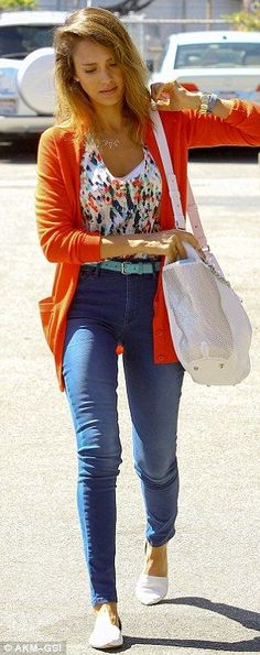 Street Fashion .Jeans,Floral crop top, orange cardigan,white…