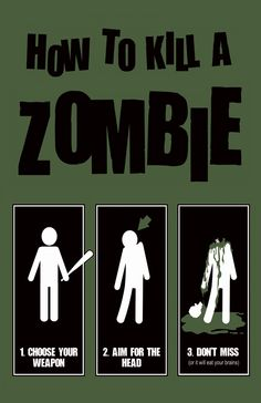 zombie printable | how to kill a zombie print How To Kill A Zombie Print image like this on the left third of door dec Name in zombie lettering on right 2/3