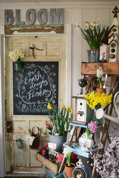 """The Earth laughs in Flowers"" Potting Shed Chalkboard Door 