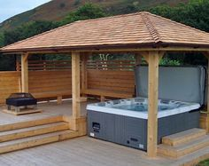 Gazebo ideas for hot tubs hot tub pergola with bar best hot tub gazebo ideas on . gazebo ideas for hot tubs Hot Tub Pergola, Hot Tub Backyard, Hot Tub Garden, Backyard Patio, Pergola Garden, Backyard Seating, Jacuzzi Outdoor Hot Tubs, Garden Decking Ideas, Garden Pavilion