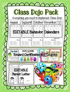EDITABLE Class Dojo Pack If you use class dojo in your classroom, you need to have this pack! It includes:*editable monthly calendars to track points*editable parent letter*monthly rewards certificates (color and different rewards coupons First Grade Classroom, Future Classroom, School Classroom, Classroom Ideas, Classroom Behavior Management, Classroom Organisation, Behavior Plans, Behavior System, Behavior Charts