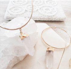 * Stunning hoop earrings in gold. * Feature drop pendant in clear stone. Bohemian Jewelry, Ear Piercings, Gold Earrings, Teal, Stone, Pendant, Bracelets, Instagram, Facebook