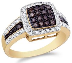 Size 65  14K Yellow and White Two Tone Gold White and Chocolate Brown Diamond Halo Engagement OR Fashion Right Hand Ring Band  Square Princess Shape Center Setting w Channel Set Round Diamonds  12 cttw ** See this great product.