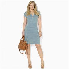 Lauren Ralph Lauren Plus Size Striped Cotton Chambray Dress #VonMaur #LaurenRalphLauren #Indigo #Striped #Faded