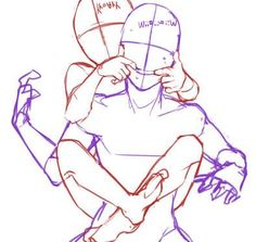 Cute piggy back and silly face hug couple reference. #Drawingtips