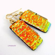 Fire on the Mountain Handmade Dangling Dichroic Glass Earrings - These unique dichroic glass handmade earrings are so hot, they are like fire on the mountain!  Forged in the mountains of West Virginia, these brilliant metallic dangling earrings heat up the fashion scene! - made by @wvmomma2 - Umeboshi Jewelry