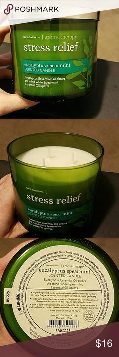 New Bath and Body Works Stress Relief Candle Brand New 3 wick stress relief candle Eucalyptus and Spearmint candle Smells amazing!! Bath and Body Works  Other