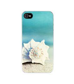 "iPhone Case 4, 4s - shell beach conch seashell - summer aqua blue white - coastal ocean shore - cute cell phone cover - ""Paradise"". $32.00, via Etsy."