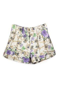 ROMWE   ROMWE Rolled-hems Elastic Floral Shorts, The Latest Street Fashion