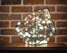 Kleines Terrarium, befleckt, Glasvase, Glasdekoration, Kerzenleuchter, gebeizt Glas ikosaedr